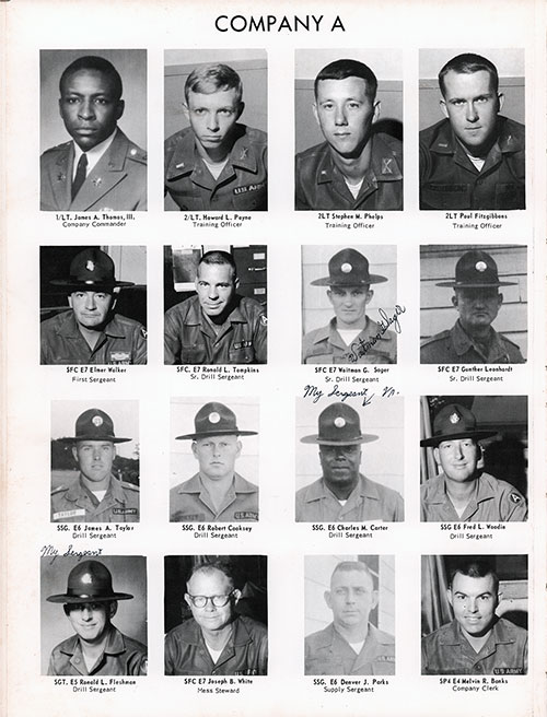 Company A 1967 Fort Benning Basic Training Leadership, Page 2.