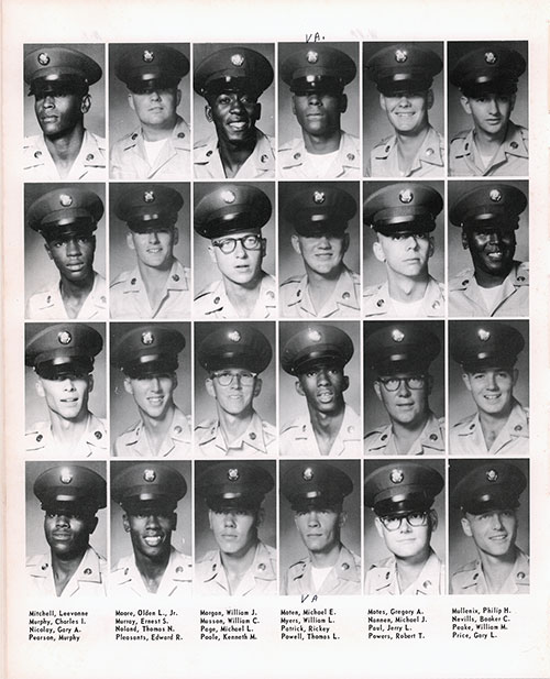 Company A 1967 Fort Benning Basic Training Recruit Photos, Page 8.