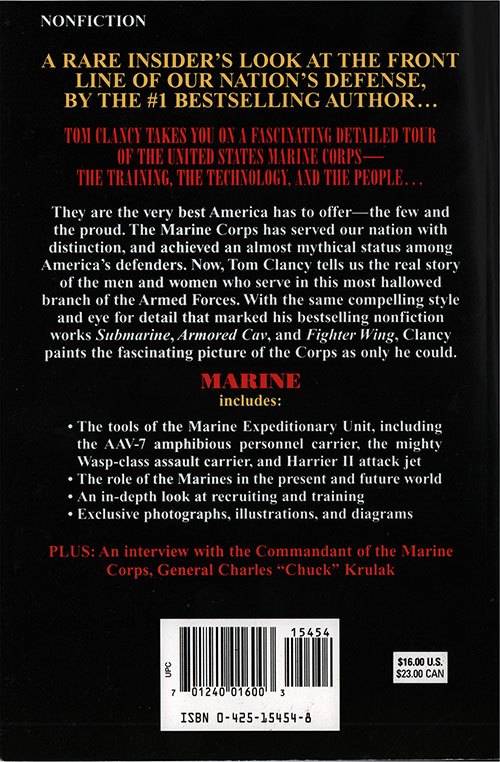 Back Cover, Marine: Guided Tour - Marine Expeditionary Unit - 1996 - ISBN 0425154548.