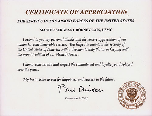 Certificate of Appreciation for Service in the Armed Forces of the United States - Master Sergeant Rodney Cain, USMC.
