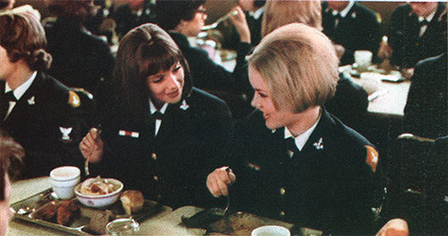 Waves Enjoy Great Navy Food in the Mess Hall.