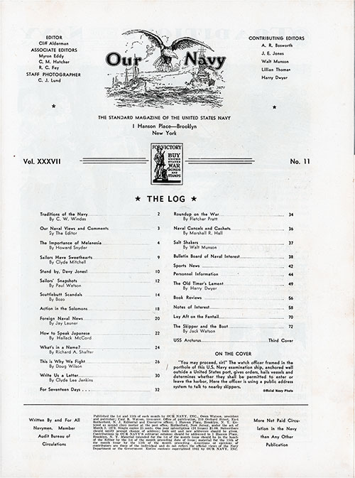 Table of Contents, 1 November 1942 Issue of Our Navy Magazine.
