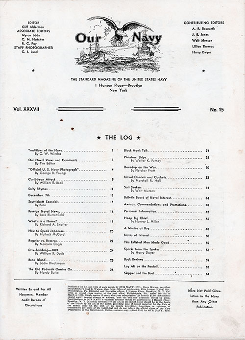 Table of Contents, 1 January 1943 Issue of Our Navy Magazine.