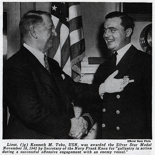 Silver Star Medal Recipient. Lt. (jg) Kenneth M. Tebo, USN