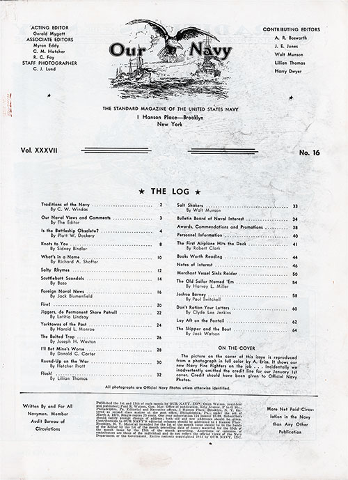 Table of Contents, 15 January 1943 Issue of Our Navy Magazine.
