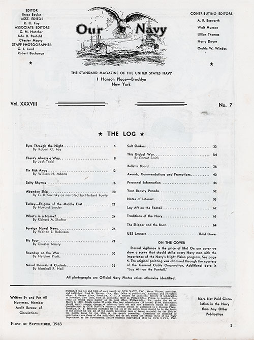 Table of Contents, 1 September 1943 Issue of Our Navy Magazine.