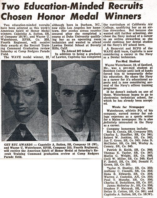 October 1955 Newspaper Clipping - Recruits Winning Honor Medals