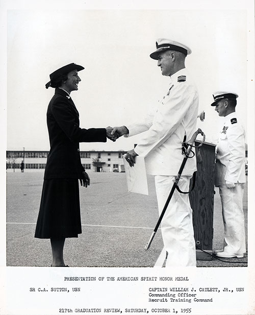 Presentation of American Spirit Honor Medal to SR C. A. Sutton, USN