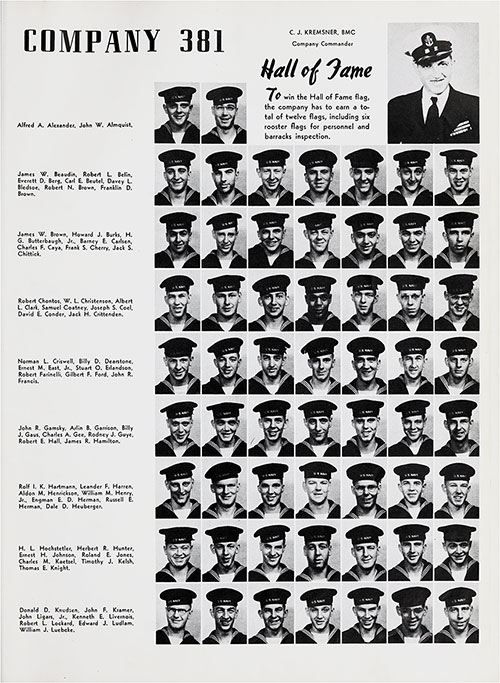 Hall of Fame Company 50-381 Great Lakes NTC Recruits, Page 1.