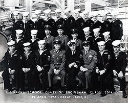 "Group Photograph: U.S. Naval School Class ""A"" Engineman, Class 2514, 29 April 1955, Great Lakes Naval Training Center."