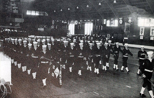 Company 61-056 Great Lakes NTC Recruits, Passing in Parade.