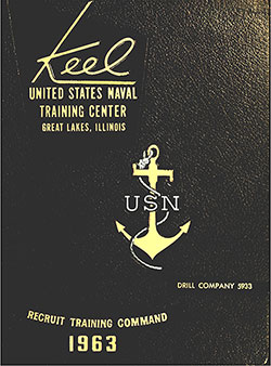 "Front Cover, Great Lakes USNTC ""The Keel"" 1963 Drill Company 5933."