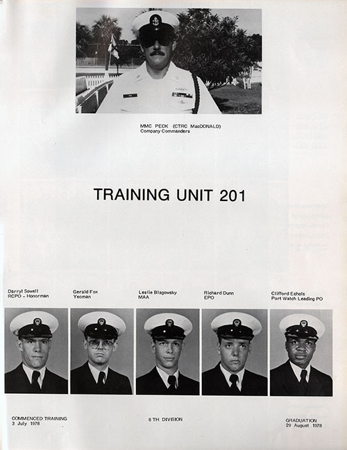 Company Leadership, Navy Boot Camp Yearbook 1978 Training Unit 201