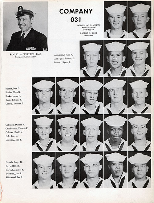 Company Command and Recruits, Navy Boot Camp Yearbook 1955 Company 031