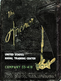 Front Cover, Navy Boot Camp Book 1955 Company 410 The Anchor