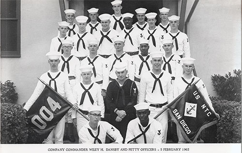 Company 62-004 San Diego NTC Company Commander Wiley H. Dansby and Petty Officers, 5 February 1962.