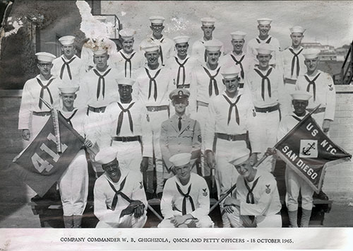 Company 65-411 Company Commander W. B. Ghighizola, QMCM and Petty Officers - 18 October 1965.