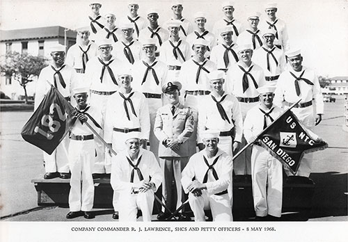Company 68-182 San Diego NTC Company Commanders and Petty Officers - 8 May 1968.