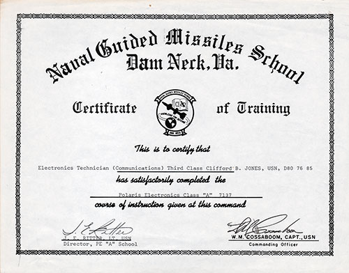 Certificate of Training, Naval Guided Missiles School