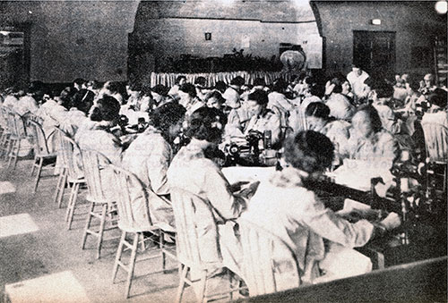Large Group of Women in WPA Sewing Project.