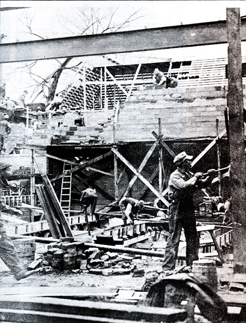 Many WPA Workers Are Assigned to the Construction of Public Buildings.