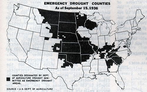 Emergency Drought Counties as of September 15, 1936
