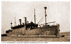 USS Covington, Sunk by German U-Boat Submaring on 2 July 1918. A History of the Transport Service, 1921.