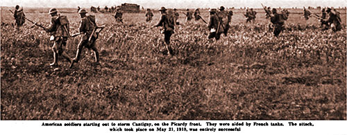 American Soldiers Starting out to Storm Cantigny, on the Picardie Front.
