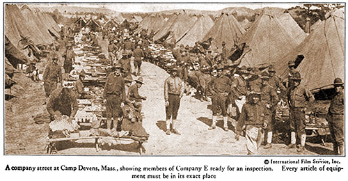 A Company Street at Camp Devens, Massachusetts, Showing Members of Company E Ready for an Inspection.
