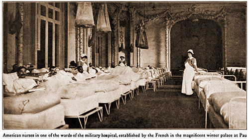 American Nurses in One of the Wards of the Military Hospital, Established by the French in the Magnificent Winter Palace at Pau.