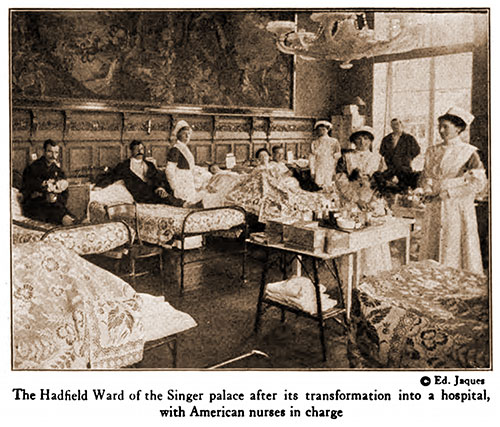 The Hadfield Ward of the Singer Palace after Its Transformation into a Hospital, with American Nurses in Charge.