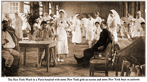 The New York Ward in a Paris Hospital with Some New York Girls as Nurses and Some New York Boys as Patients.
