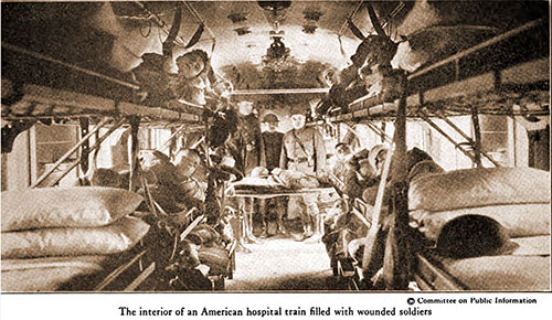 The Interior of an American Hospital Train Filled with Wounded Soldiers.