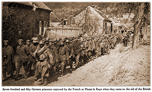 Seven Hundred and Fifty German Prisoners Captured by the French at Plessis Le Roye When They Came to the Aid of the British.