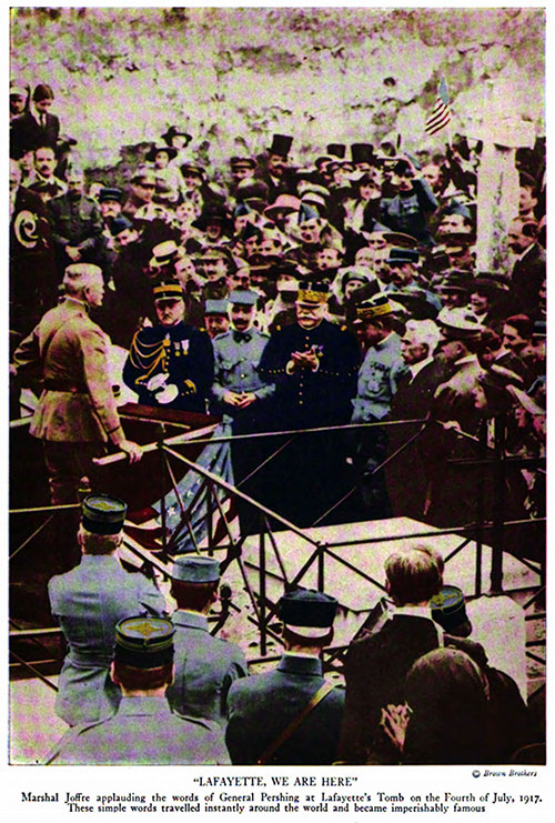 """Lafayette, We Are Here."" Marshal Joffre Applauding the Words of General Pershing at Lafayette's Tomb on the Fourth of July 1917."