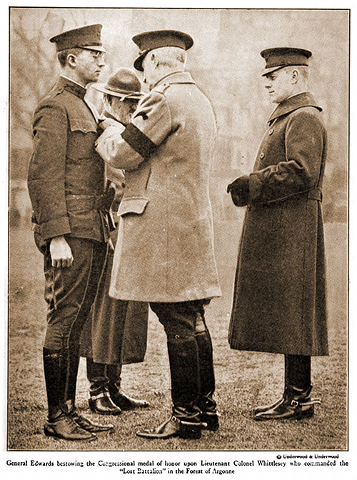 "General Edwards Bestowing the Congressional Medal of Honor upon Lieutenant Colonel Whittlesey, Who Commanded the ""Lost Battalion"" in the Forest of Argonne."
