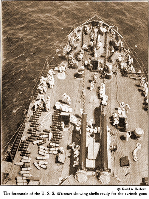 The Forecastle of the USS Missouri Showing Shells Ready for the 12-inch Guns.