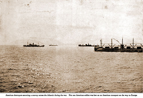 American Destroyers Escorting a Convoy across the Atlantic during the War.
