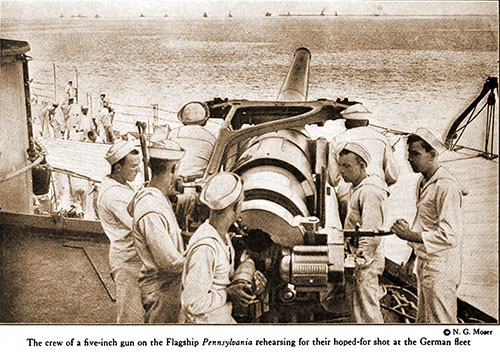 The Crew of a Five-Inch Gun on the Flagship Pennsylvania Rehearsing for Their Hoped-for Shot at the German Fleet.