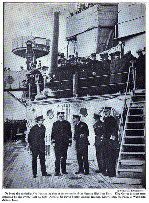 On Board the Battleship USS New York at the Surrender of the German High Seas Fleet.