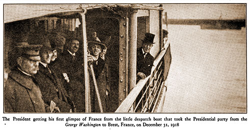US President Wilson Getting His First Glimpse of France from the Little Despatch Boat That Took the Presidential Party from the USS George Washington to Brest, France, on December 31, 1918.
