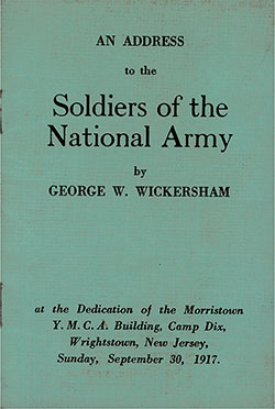 Front Cover, An Address to the Soldiers of the National Army by George W. Wickersham on Sunday, 30 September 1917.