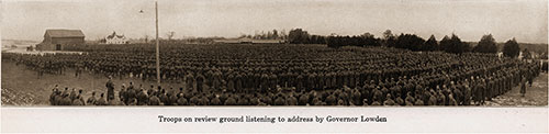 Troops on Review Ground Listening to Address by Governor Lowden.
