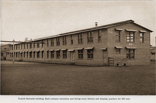Typical Barracks Building. Each Contains Recreation and Dining Room, Kitchen, and Sleeping Quarters for 200 Men.