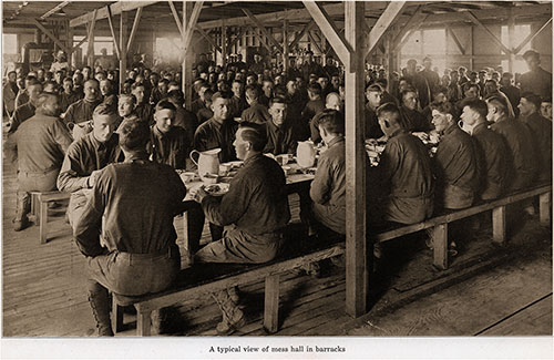 A Typical View of Mess Hall in Barracks.