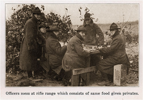 Officers Mess at the Rifle Range Which Consists of the Same Food Given to Privates.