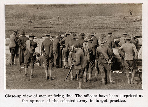 Close-up View of Men at the Firing Line. the Officers Have Been Surprised at the Aptness of the Selected Army in Target Practice.