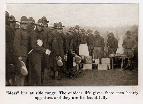 Mess Line at the Rifle Range. the Outdoor Life Gives These Men Hearty Appetites, and They Are Fed Bountifully.