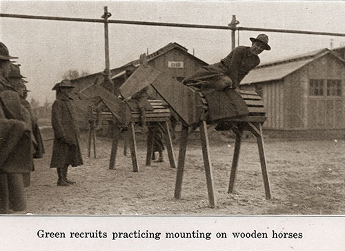 Green Recruits Practicing Mounting on Wooden Horses.