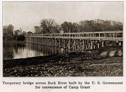 Temporary Bridge across Rock River Built by the US Government for the Convenience of Camp Grant.